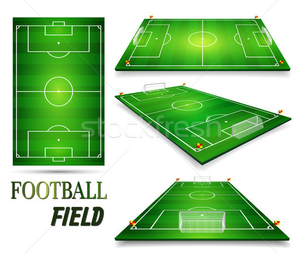 Football field, soccer field set. Perspective vector illustration. EPS 10. Room for copy Stock photo © olehsvetiukha
