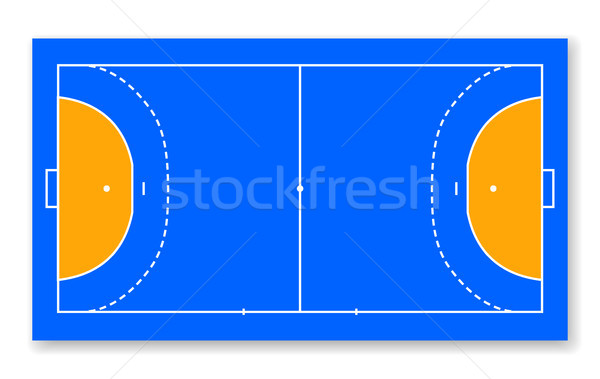 detailed illustration of a handball field, cort eps10 field top view vector illustration Stock photo © olehsvetiukha