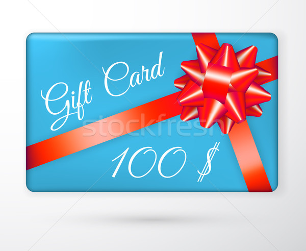 Vector gift vouchers with bow red ribbons, and blue backgrounds. Creative holiday cards or banners.  Stock photo © olehsvetiukha