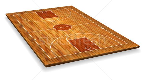 перспективы баскетбольная площадка полу линия текстура древесины древесины Сток-фото © olehsvetiukha