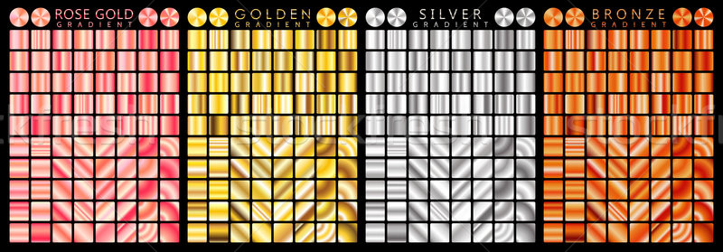 Stock photo: Rose gold, golden, silver, bronze gradient,pattern,template.Set of colors for design,collection of h