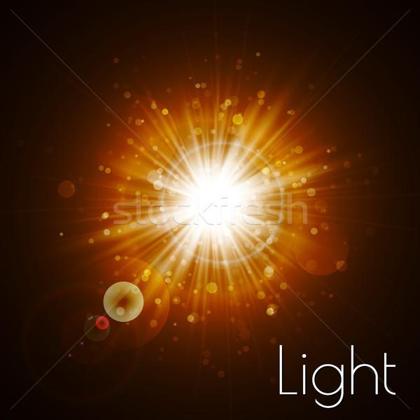 Sterne Burst Licht Wirkung Gold glitter Stock foto © olehsvetiukha