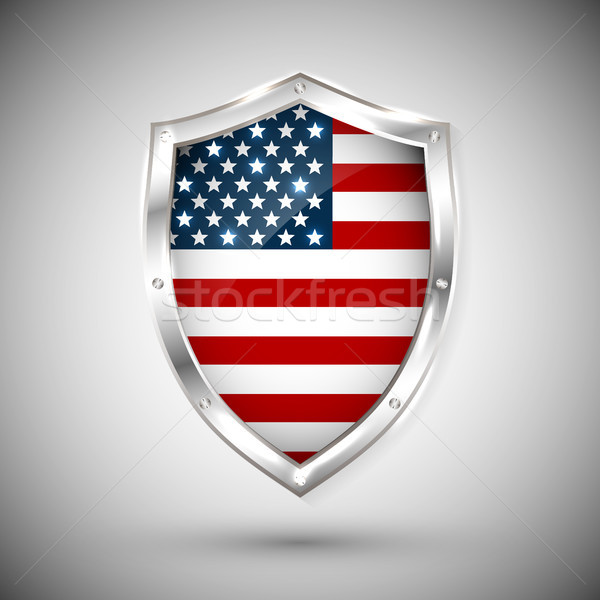 USA flag on metal shiny shield vector illustration. Collection of flags on shield against white back Stock photo © olehsvetiukha