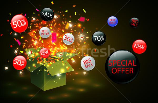 Venda desconto símbolo abrir caixa de presente Foto stock © olehsvetiukha
