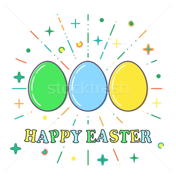 Happy Easter, Flat blue, green and yellow easter eggs vector Stock photo © olehsvetiukha
