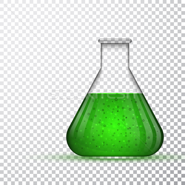 laboratory glassware or beaker. Chemical laboratory transparent flask with green liquid. Vector illu Stock photo © olehsvetiukha