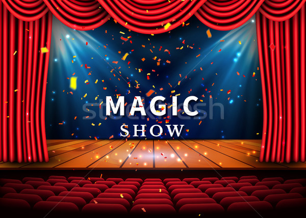 A theater stage with a red curtain and a spotlight and wooden floor. Magic Show poster. Vector Stock photo © olehsvetiukha