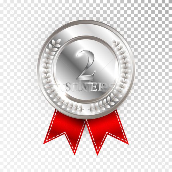 Bajnok ezüst érem vörös szalag ikon felirat Stock fotó © olehsvetiukha