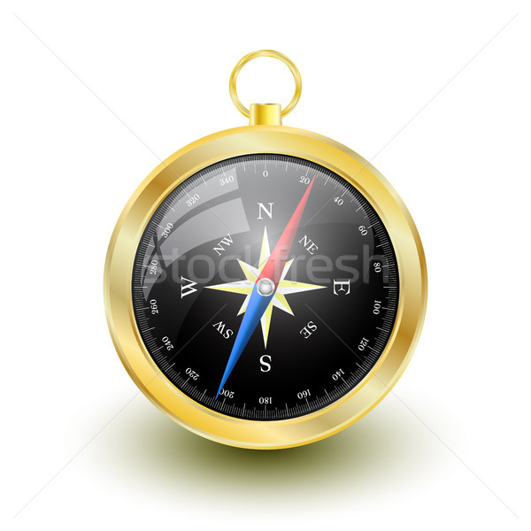 Golden Glossy Compass with windrose. Vector Illustration Stock photo © olehsvetiukha