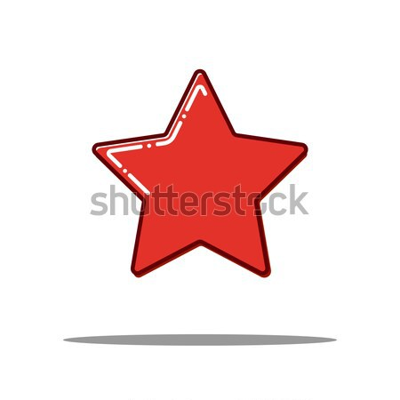 Red Star Flat line icon concept. Vector Stock photo © olehsvetiukha