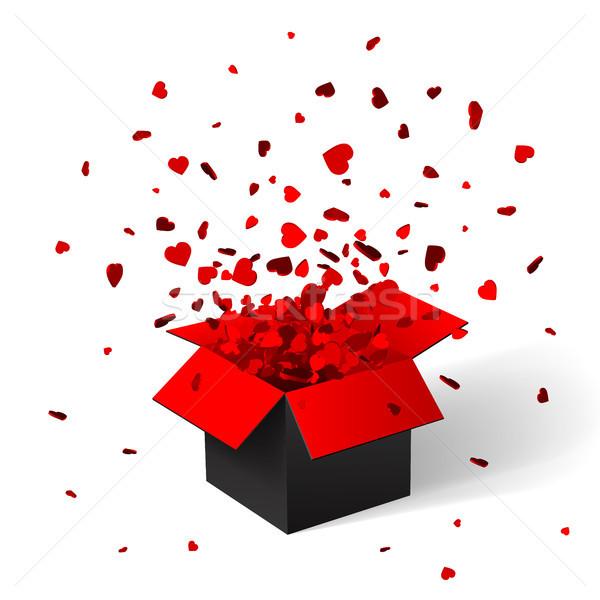 Abierto rojo caja de regalo confeti Navidad papel Foto stock © olehsvetiukha