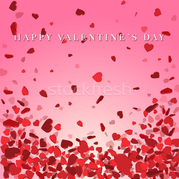 Heart confetti of Valentines petals falling on pink background. Flower petal in shape of heart confe Stock photo © olehsvetiukha