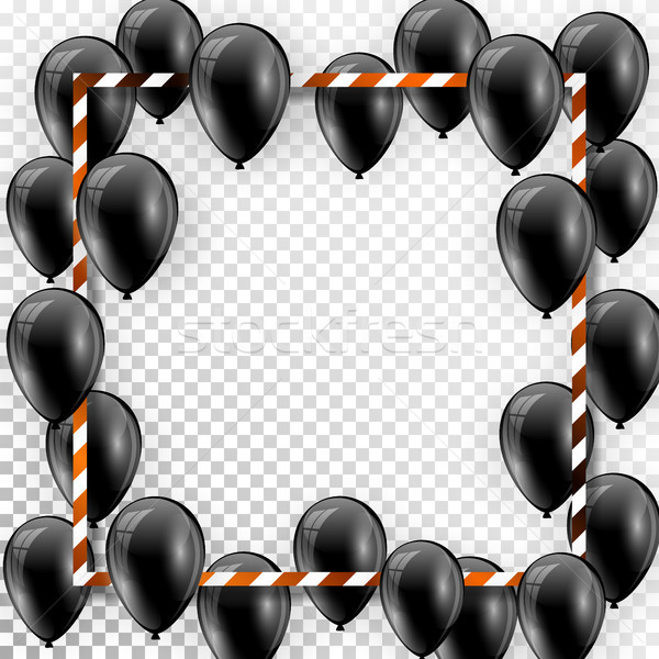 Beautiful black balloons randomly flying over white frame. Party elegant vector background with spac Stock photo © olehsvetiukha