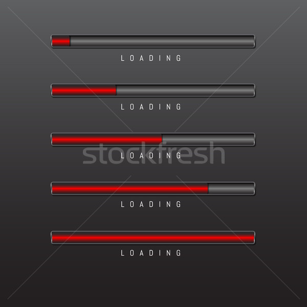 progress bar and loading red color on black background vector Stock photo © olehsvetiukha