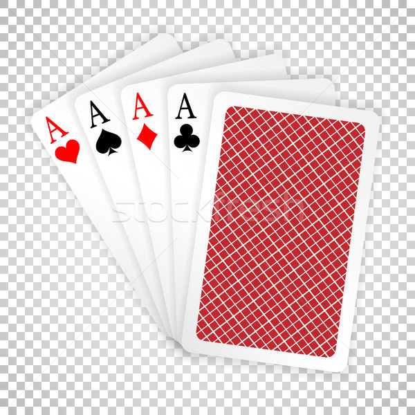 Four aces in five card poker hand playing cards with back design. Winning poker hand Stock photo © olehsvetiukha