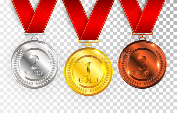 Stock photo: Set of gold, silver and bronze award medals with red ribbons. Medal round empty polished vector coll