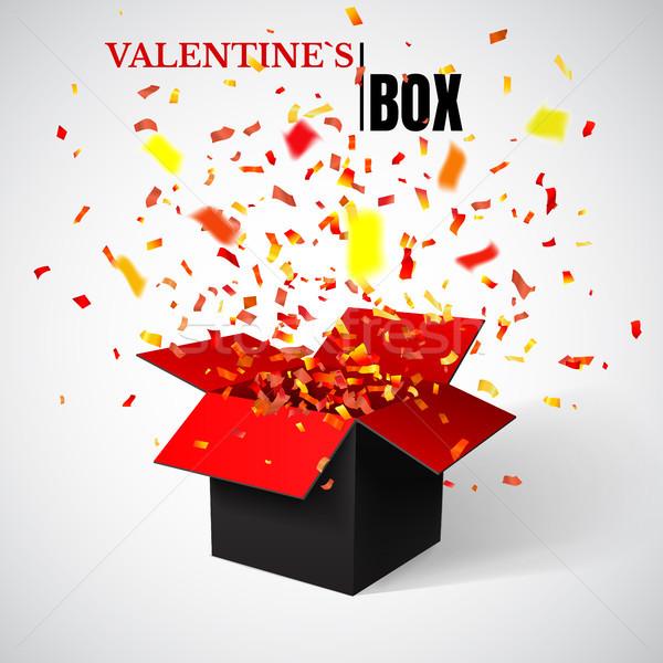 Foto stock: Abrir · vermelho · caixa · de · presente · confete · primavera
