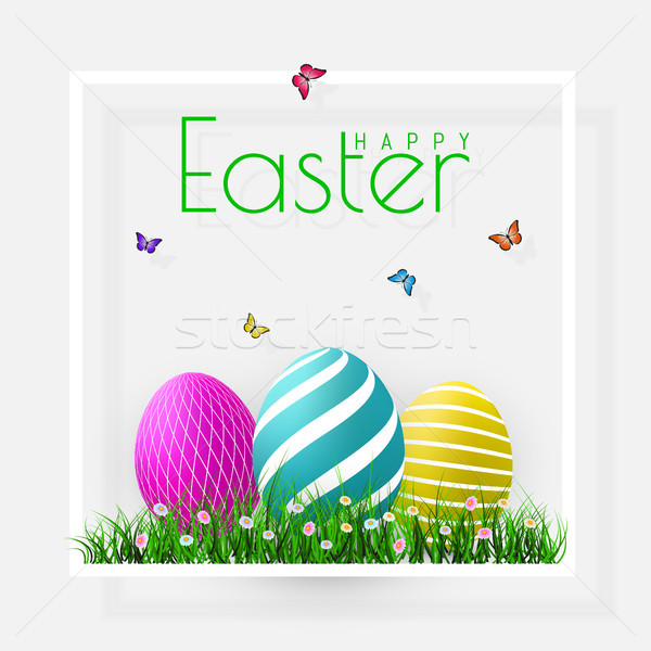 Stock photo: Happy Easter. Vector Easter eggs with grass, butterfly and flowers in frame, isolated on a gray back