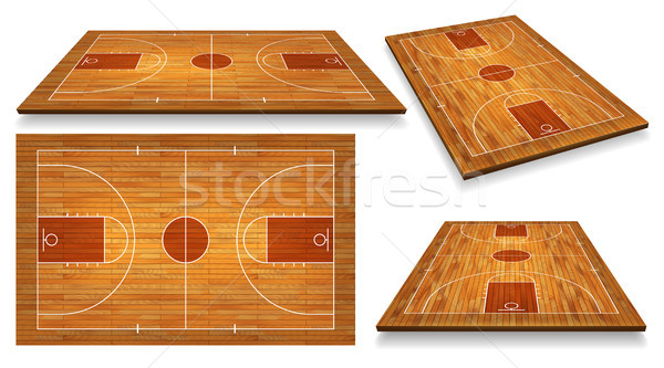 Set Perspective Basketball court floor with line on wood texture background. Vector illustration Stock photo © olehsvetiukha