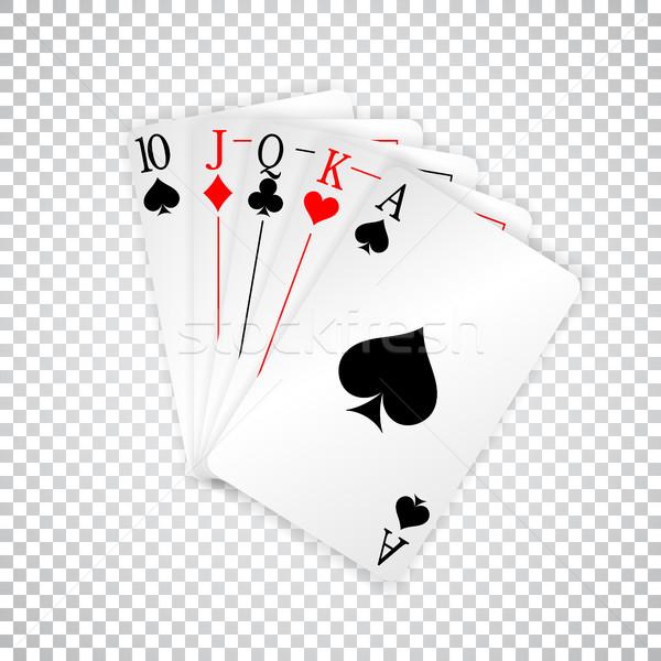 Real em linha reta cartas de jogar pôquer mão casa Foto stock © olehsvetiukha