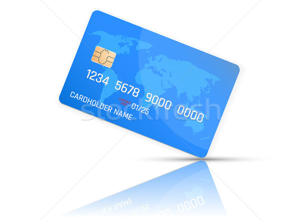 Realistic detailed credit card with the world map on blue background. Vector illustration design Stock photo © olehsvetiukha