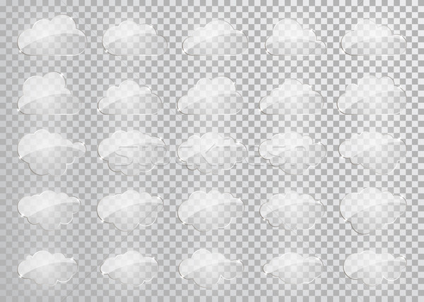 Clouds silhouettes. Vector set of glass clouds shapes. Collection of various forms and contours. Des Stock photo © olehsvetiukha