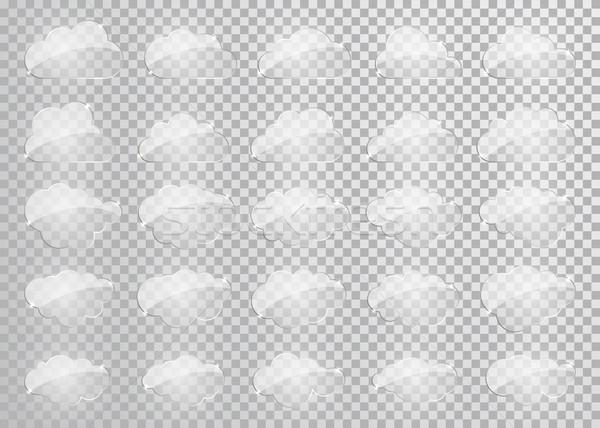 Wolken Silhouetten Vektor Set Glas Formen Stock foto © olehsvetiukha