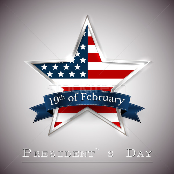 Happy President's Day greeting card with star of USA Stock photo © olehsvetiukha