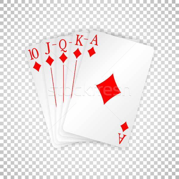 A royal straight flush playing cards poker hand in diamonds Stock photo © olehsvetiukha
