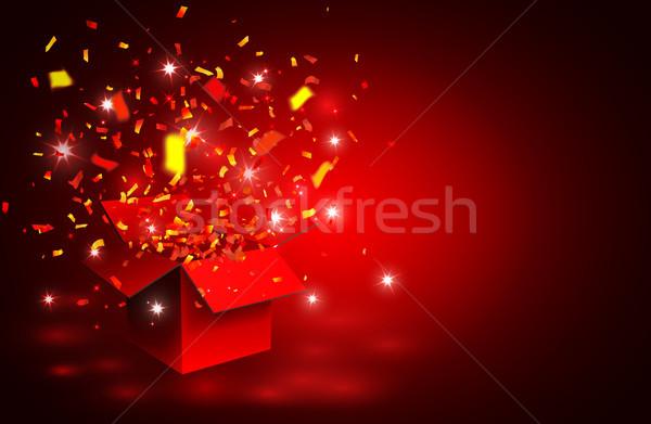 Açmak kırmızı hediye kutusu konfeti kutu star Stok fotoğraf © olehsvetiukha