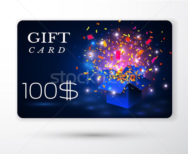 Vector regalo tarjeta negocios cuadro azul Foto stock © olehsvetiukha