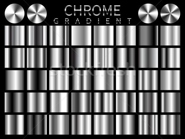 Chrome background texture vector icon seamless pattern. Light, realistic, elegant, shiny, metallic a Stock photo © olehsvetiukha