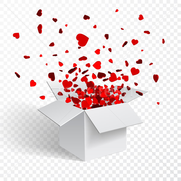 Gift box present with fly hearts Valentine's day vector illustration Stock photo © olehsvetiukha