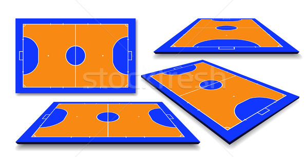 Futsal court or field top and perspective view vector illustration Stock photo © olehsvetiukha