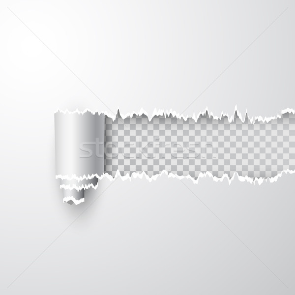 Vector torn hole in sheet of white paper. Transparent background of resulting window. Template paper Stock photo © olehsvetiukha