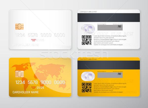 Stock fotó: Hitelkártya · vázlat · valósághű · részletes · hitelkártyák · szett