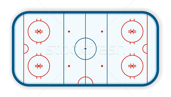 Stock photo: detailed illustration of a icehockey rink, field, court, eps10 vector