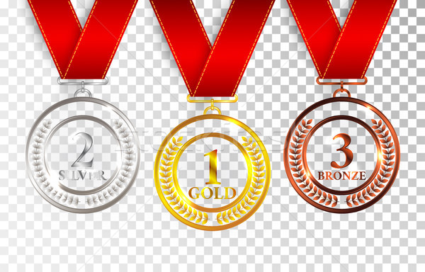 Set of gold, silver and bronze award medals with red ribbons. Medal round empty polished vector coll Stock photo © olehsvetiukha