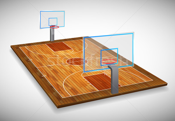Perspective vector illustration of hardwood Basketball court field with shield. Vector EPS 10. Room  Stock photo © olehsvetiukha