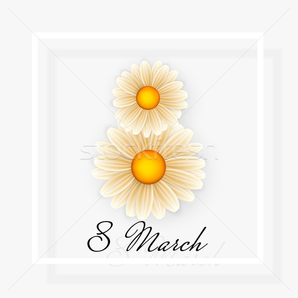 Women day background with frame flowers. 8 March invitation card. Vector illustration Stock photo © olehsvetiukha