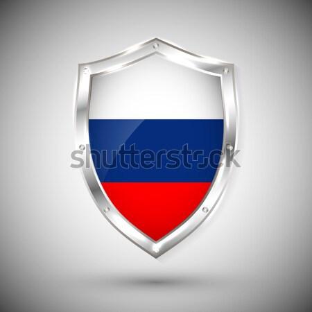 Stockfoto: Rusland · vlag · metaal · schild · collectie