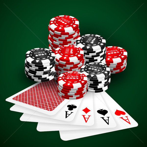 Vector illustration on a casino theme with playing chips and playig cards on dark background. Gambli Stock photo © olehsvetiukha