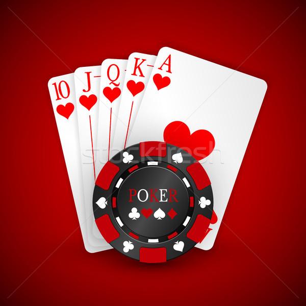 Kaszinó piros játszik sültkrumpli kártyák sötét Stock fotó © olehsvetiukha