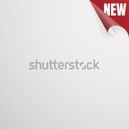 New Paper Sheet With Red Curled Corner. Vector Stock photo © olehsvetiukha