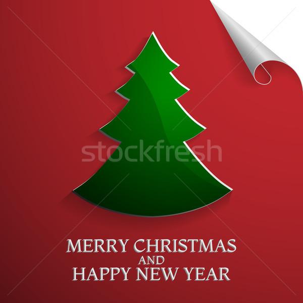 Modern abstract christmas tree background, vector illustration Stock photo © olehsvetiukha