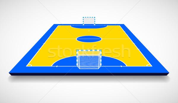 Futsal court or field perspective view vector illustration Stock photo © olehsvetiukha