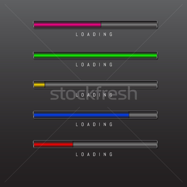 progress bar and loading different colors on black background vector Stock photo © olehsvetiukha