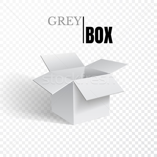 Foto stock: Abrir · caixa · cinza · cartão · transparente · vetor