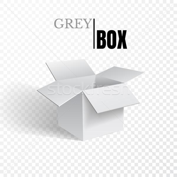 Open box, grey cardboard on transparent background, vector Stock photo © olehsvetiukha