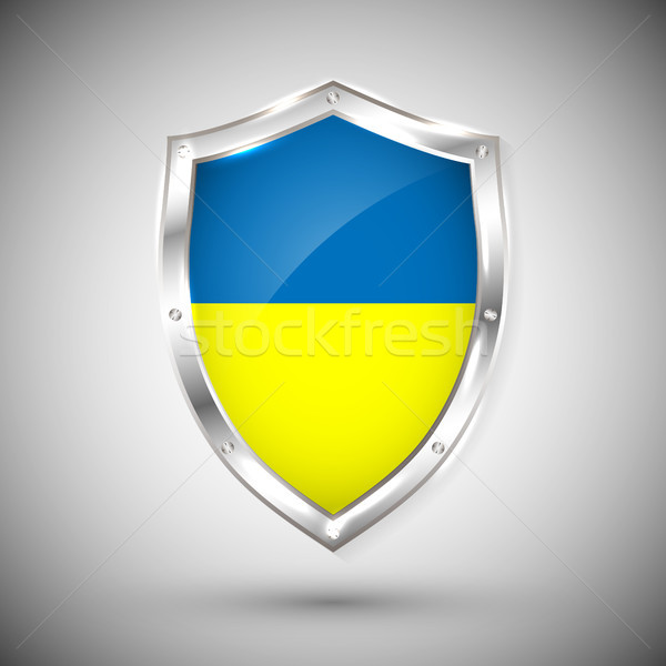 Ukraine flag on metal shiny shield vector illustration. Collection of flags on shield against white  Stock photo © olehsvetiukha
